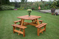 Wooden Picnic Bench (Seats 8 people) - GP15